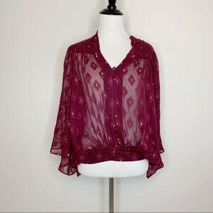 GREYLIN Silk Kimono Batwing Top Metallic